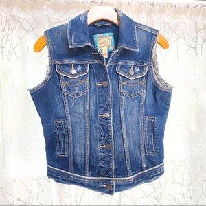 Abercrombie & Fitch blue denim jean button up vest